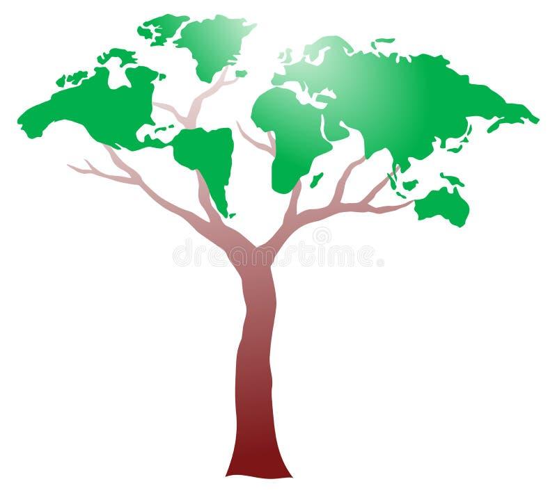 Worldmap op boom stock illustratie