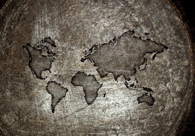 Worldmap på ett stål vektor illustrationer