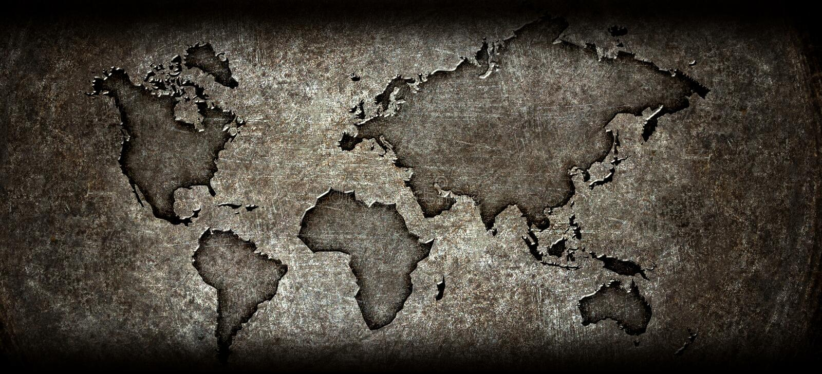 Download Worldmap On A Steel Background Stock Illustration - Image: 23293061