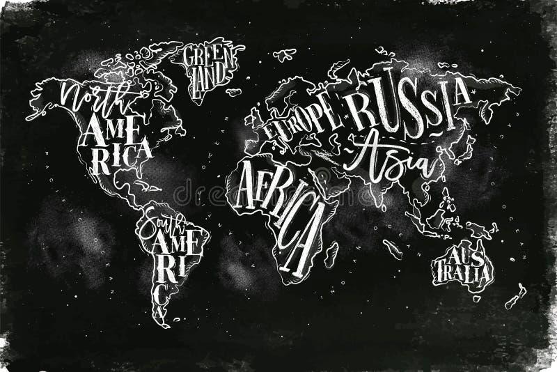 Worldmap tappningkrita royaltyfri illustrationer