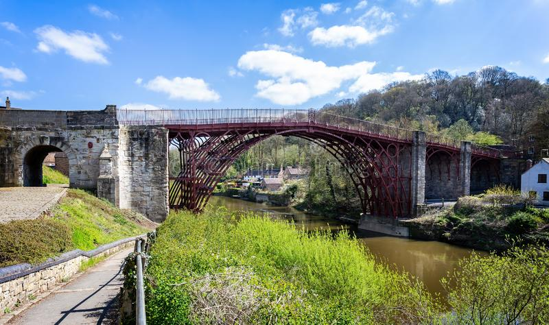 Worlds first iron bridge over the River Severn in Ironbridge, Shropshire, UK. On 10 April 2019 stock photography