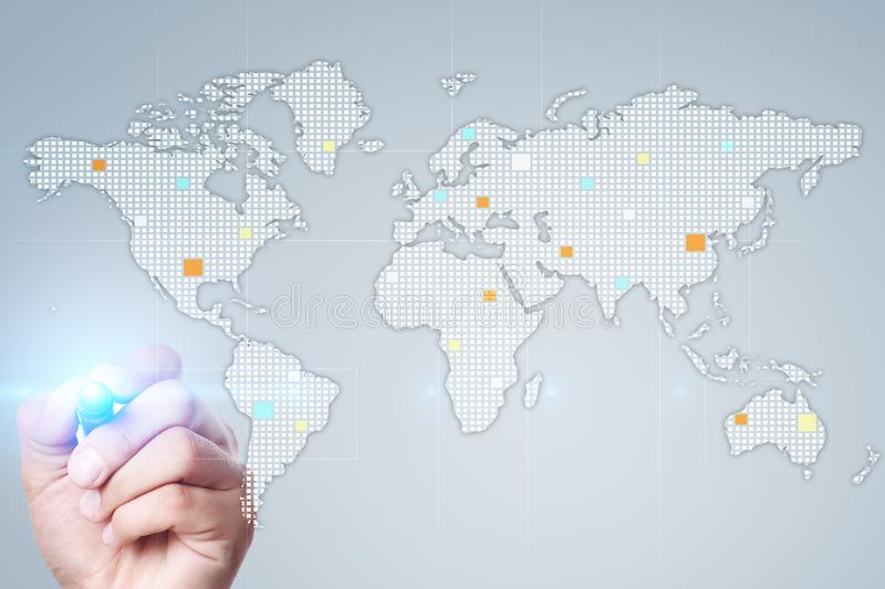 Worlds maps on virtual screen. Business, internet and technology concept. stock photo