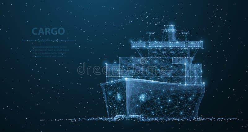 Worldwide cargo ship. Polygonal wireframe mesh art. Transportation, logistic, shipping concept illustration or royalty free illustration