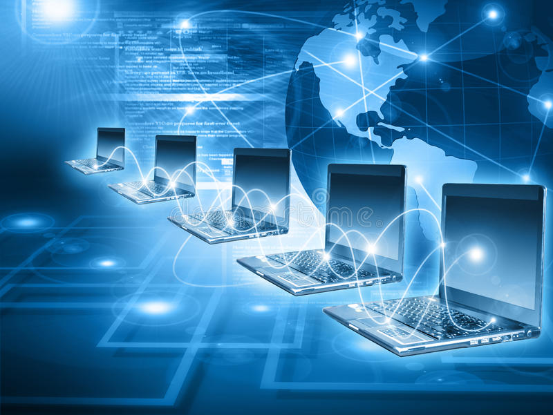 Worldwide computer connectivity. Worldwide web connectivity concept with blue laptop computers royalty free stock photo