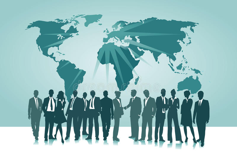 Worldwide connections. Business professionals meeting in front of global map representing worldwide connections royalty free illustration