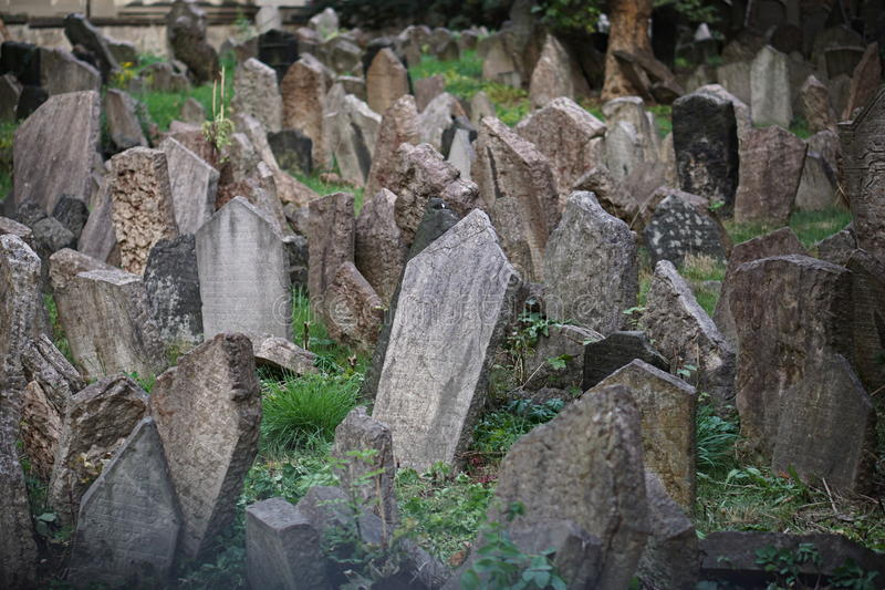 Worldwide Famous Old Jewish Cemetery In Prague Czech Republic With