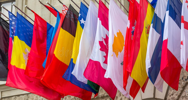 Worldwide flags royalty free stock photo