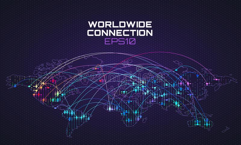 Worldwide internet social communication. Data stream trajectory, cloud computing abstract background. Global network. Worldwide internet social communication vector illustration