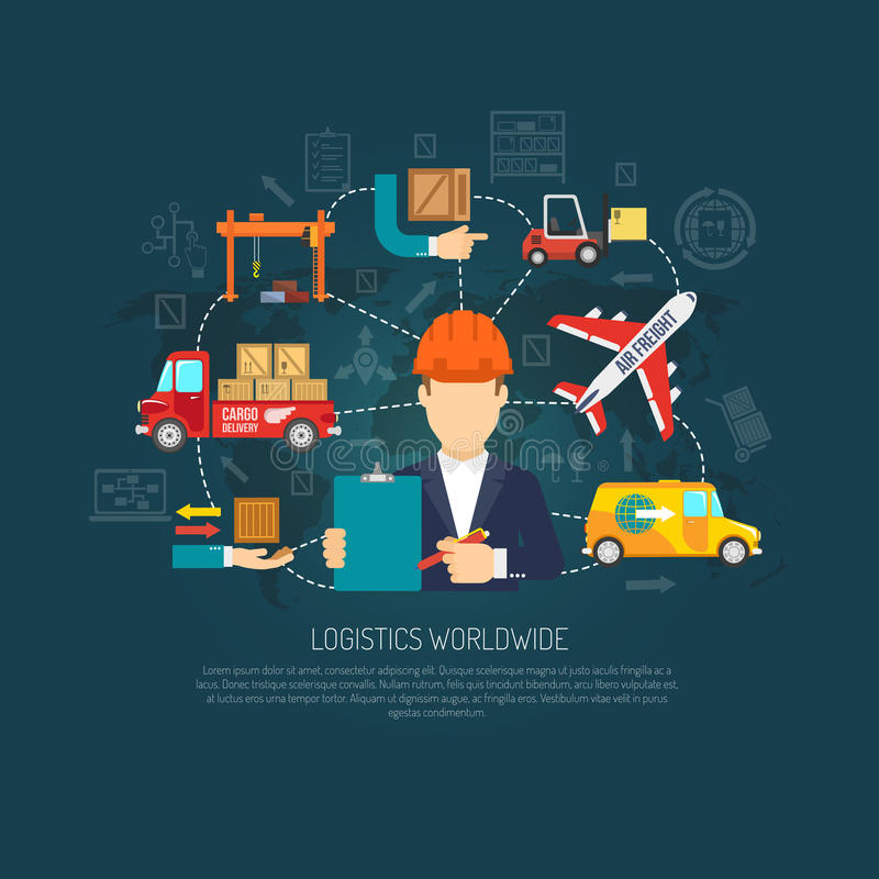 Worldwide logistics operations concept flowchart. Worldwide logistics company services operator coordinating international cargo transportation and delivery stock illustration