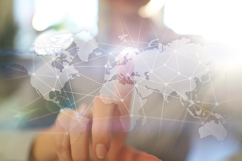 Worldwide network on virtual screen. World map and icons. Internet concept. Social media and global communication. stock images