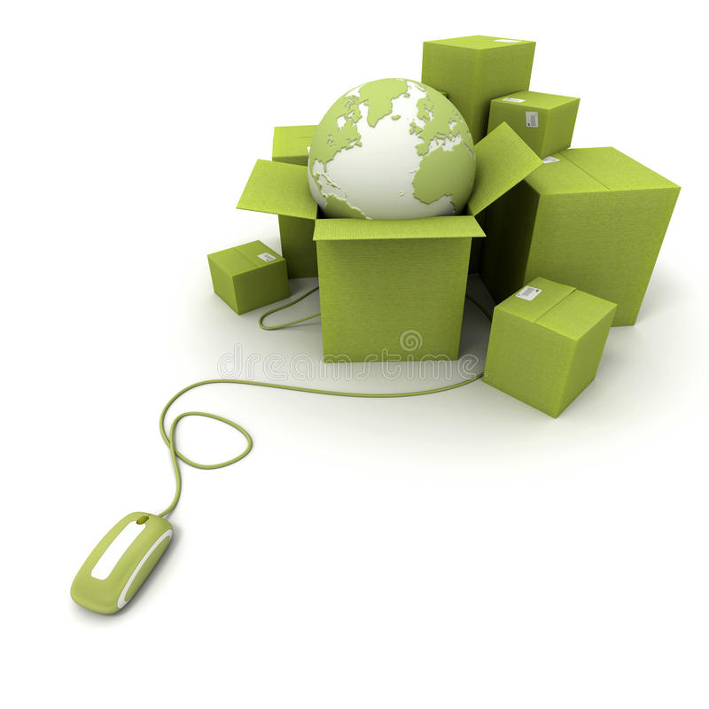 Worldwide online shipping in green stock illustration