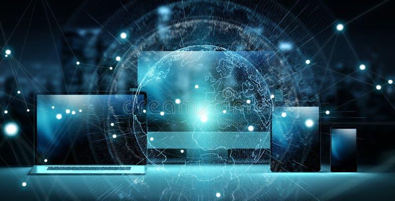 Worldwide server interface over modern tech devices 3D rendering stock illustration