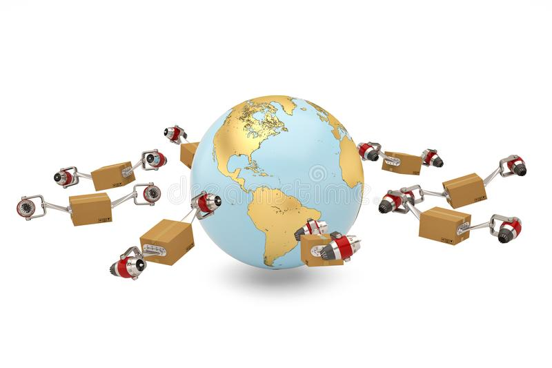 Worldwide shipping concept carton with jet engine and gold globe stock illustration