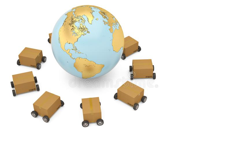 Worldwide shipping concept carton with wheels and gold globe 3d royalty free illustration