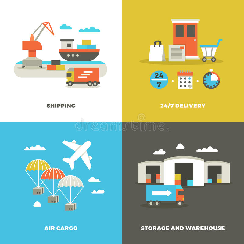 Worldwide shipping logistics and industrial warehouse. Picking technology and on time delivery vector concepts. Shipping and air cargo, illustration of royalty free illustration