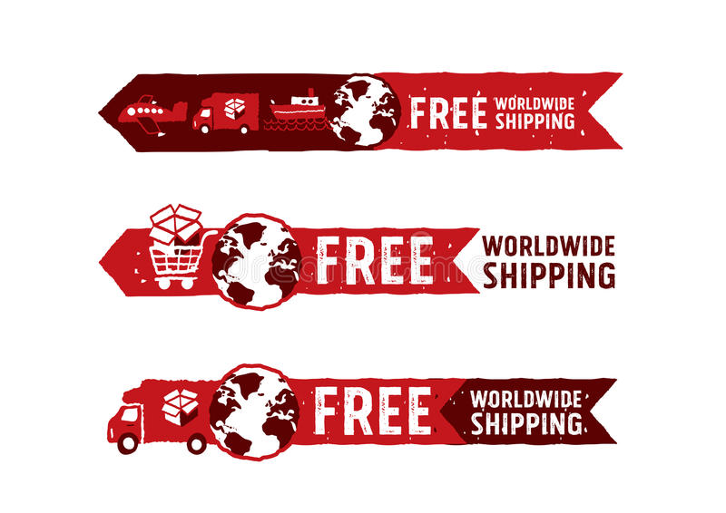 Worldwide shipping logos and signs with globe icon royalty free illustration