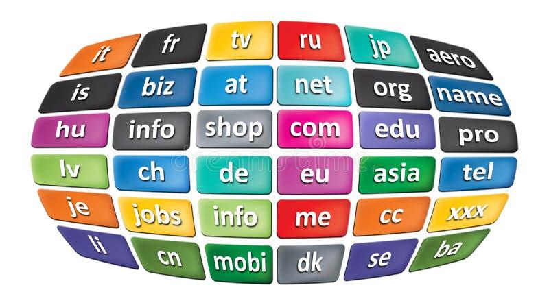 Worldwide Top Domains vector illustration