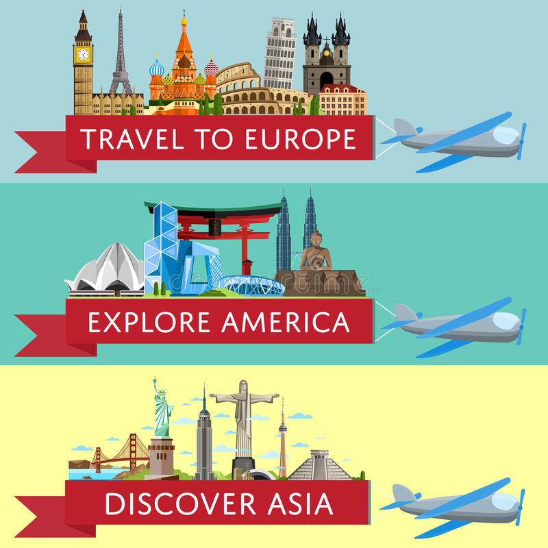 Worldwide travel set with famous attractions vector illustration