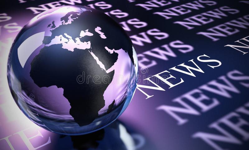 Worlwide news. World sphere made in glass and the word news image is blue and purple toned royalty free illustration
