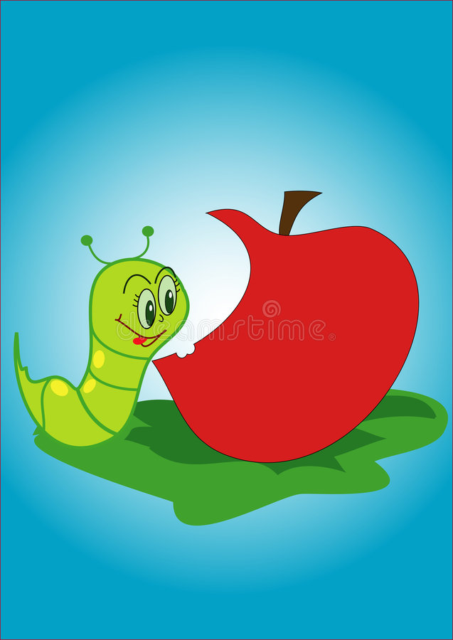 Worm and apple royalty free illustration