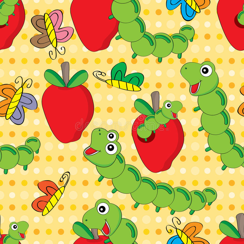 Free Worm Apple Seamless Pattern Royalty Free Stock Image - 43109446