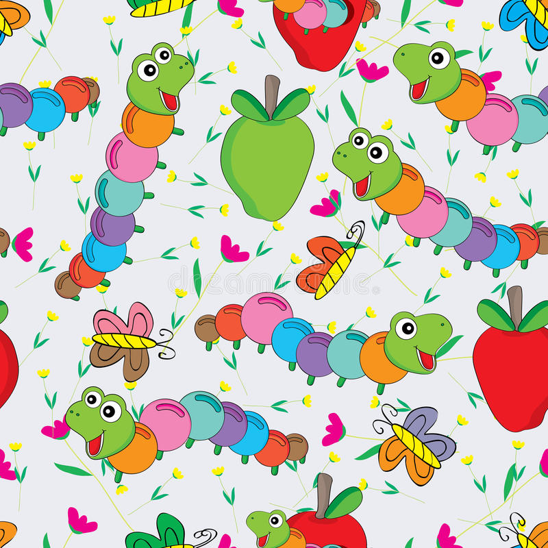 Free Worm Butterfly Flower Colorful Seamless Pattern Royalty Free Stock Image - 43109066