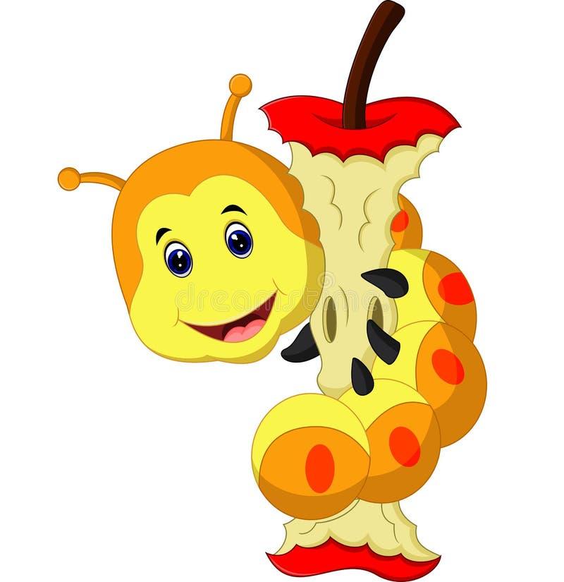 Worm die appelbeeldverhaal eten vector illustratie