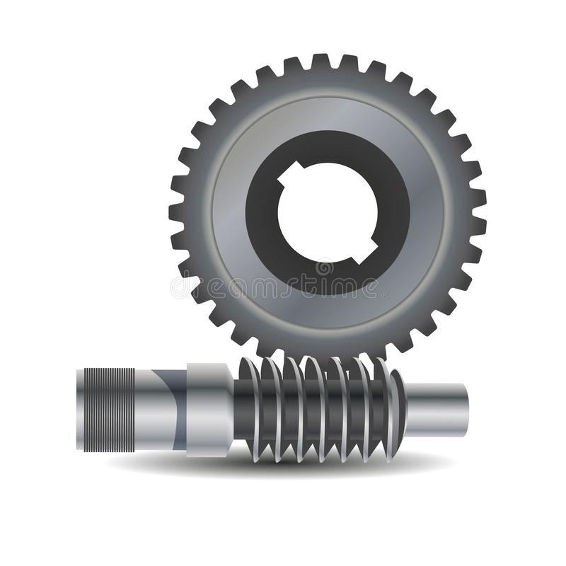 Worm drive. Vector diagram. Protrusion on the gear wheel enter the Worm shaft to form a gearing system. Worm shaft is a. Cylindrical part that transfers the vector illustration