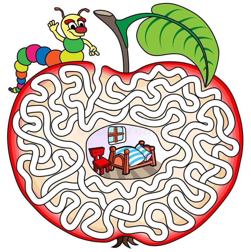 Worm in een appel - labyrint voor jonge geitjes stock illustratie