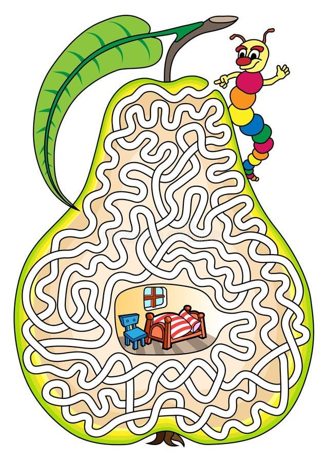 Worm in een peer - labyrint voor jonge geitjes royalty-vrije illustratie