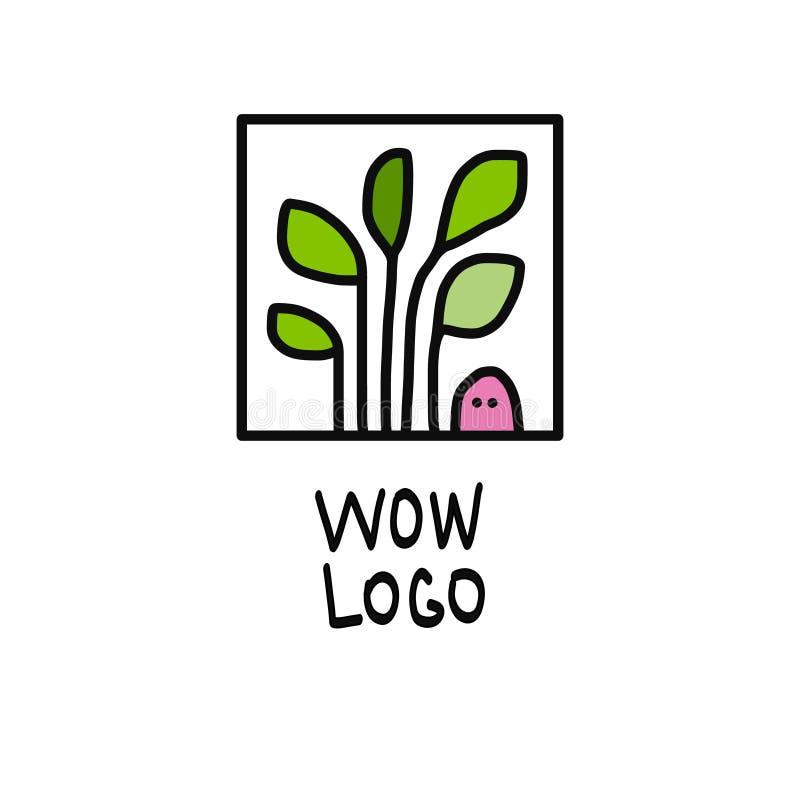 Worm en installatieembleemillustratie stock foto