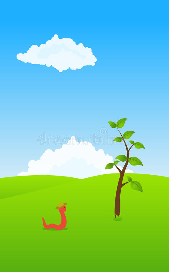 Worm in a field royalty free illustration