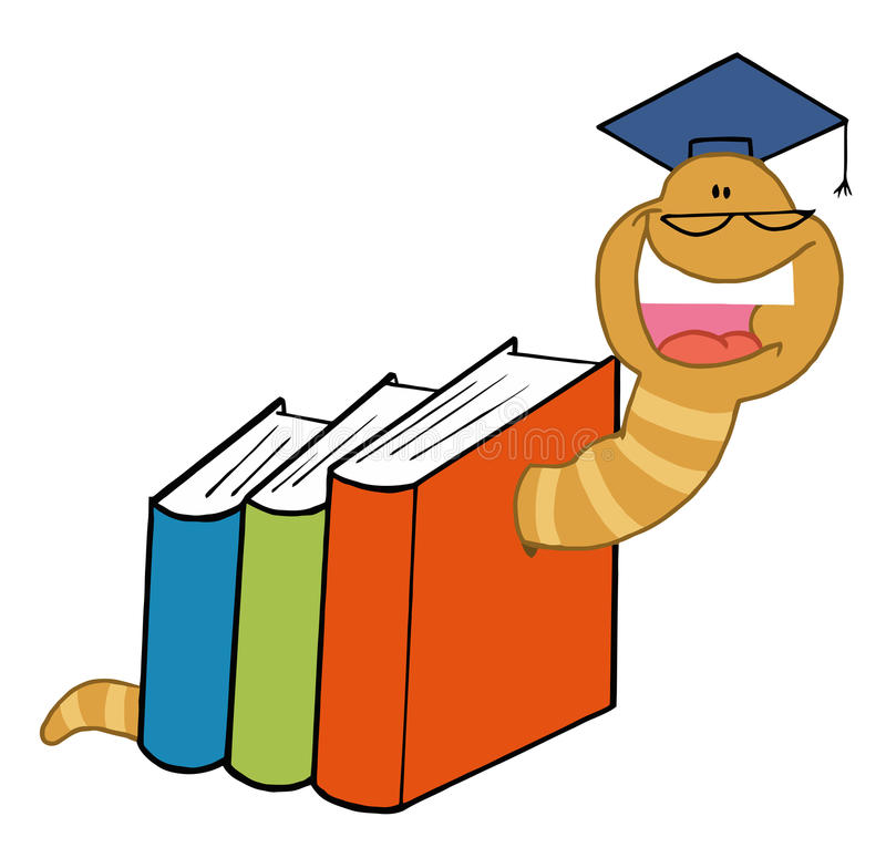 Worm graduate crawling through colorful books stock illustration