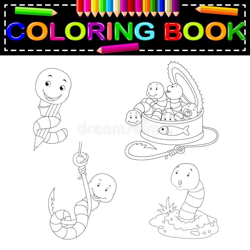 Worm kleurend boek stock illustratie