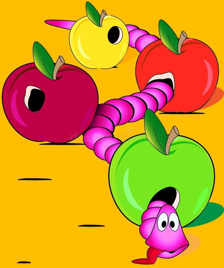 Worm overate de appelen stock illustratie