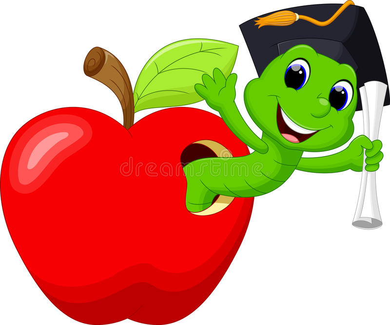 Worm in the red apple stock illustration