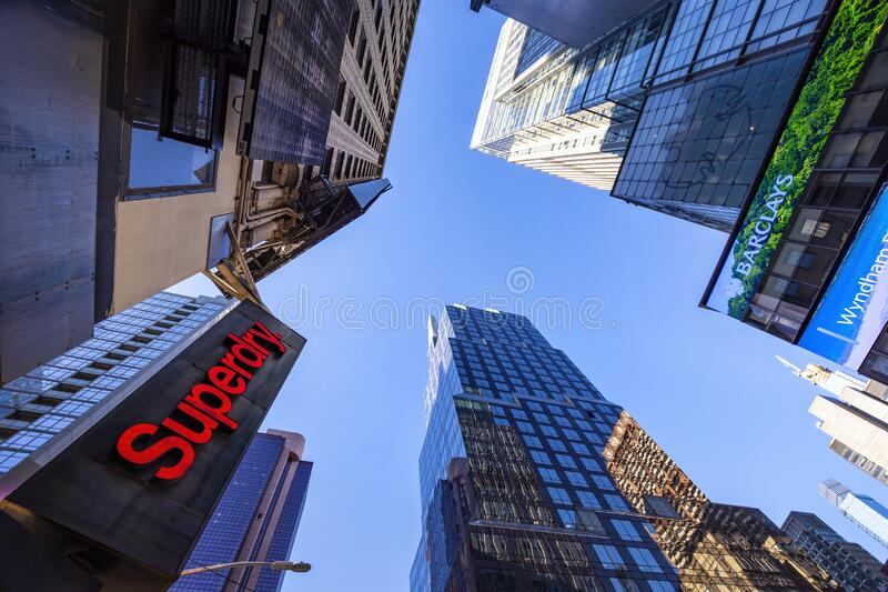 Worm`s-eye view architecture in Manhattan stock images