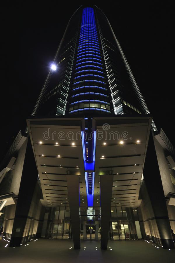 Worm's Eye View Of Blue Black And White Lightened Building During Nighttime Free Public Domain Cc0 Image