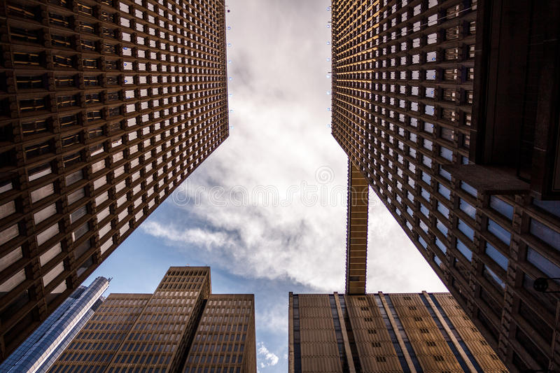 Worm's Eye View Of City Buildings Under Sunny Cloudy Sky Free Public Domain Cc0 Image
