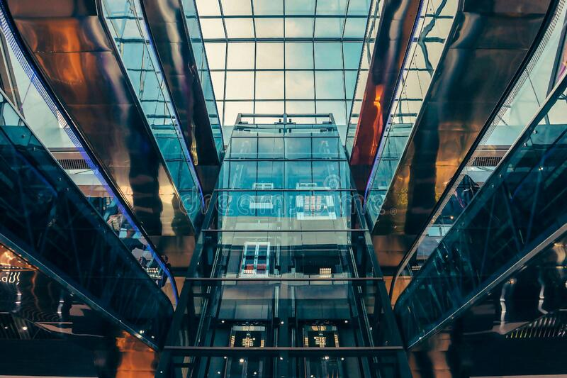 Worm's Eye View of Glass Panel Building stock photography