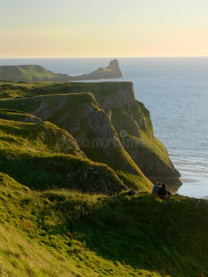 Worm's head at sunset, Gower peninsula, Wales royalty free stock images