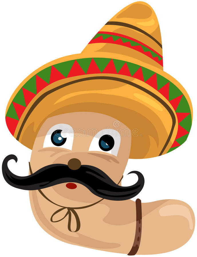 Download Worm with sombrero stock vector. Image of background - 22373637