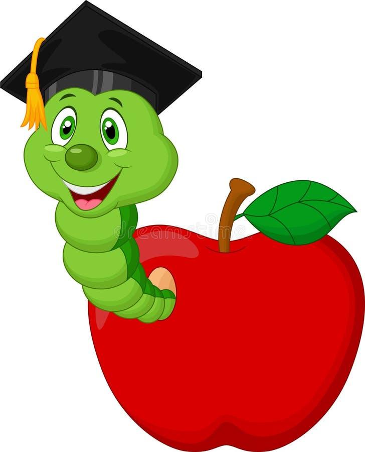 Worm vestindo um tampão do raduation que rasteja fora de uma maçã ilustração stock