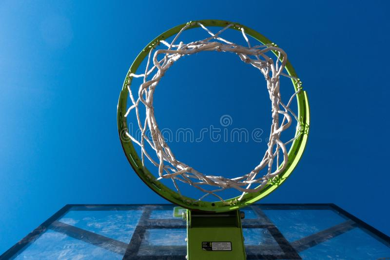 Worm View Photography of Green and Black Basketall Hoop stock photography