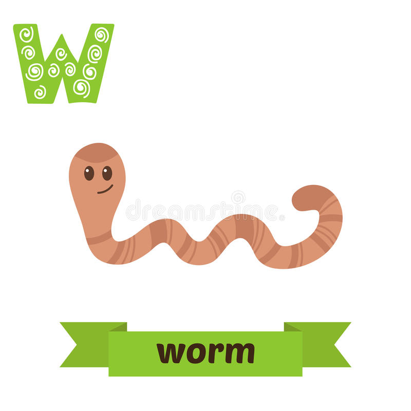 Free Worm. W Letter. Cute Children Animal Alphabet In Vector. Funny C Stock Images - 73902364
