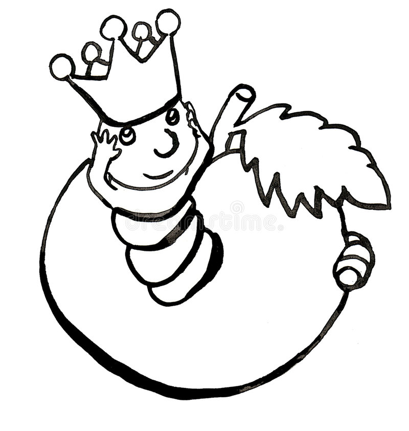 A worm in white and black royalty free illustration