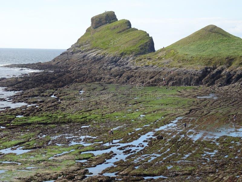 Wormenhoofd op het Gower-schiereiland in Wales stock foto