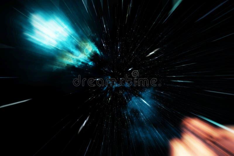 Wormhole cósmico, concepto del viaje espacial, túnel embudo-formado que puede conectar un universo con otro representación 3d ilustración del vector