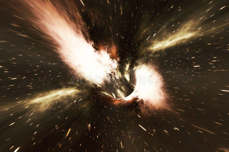 Wormhole cósmico, concepto del viaje espacial, túnel embudo-formado que puede conectar un universo con otro representación 3d stock de ilustración