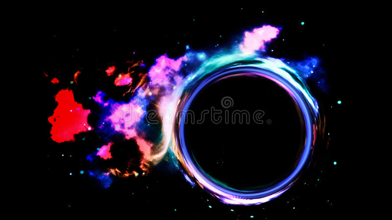 Wormhole in space. An illustration of a wormhole or a black hole in space in front of a nebula. Red Spider Nebula image provided by NASA royalty free illustration